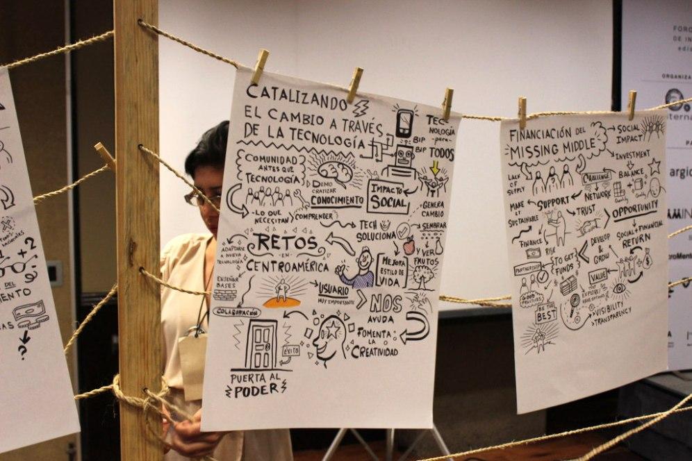 El artista Luis Pinto interpretó y plasmo en imágenes las conferencias a lo largo del Foro.